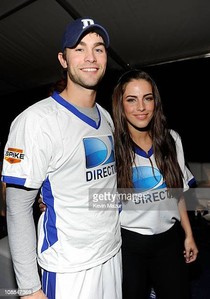 Actors Chace Crawford and Jessica Lowndes attend DIRECTV's Fifth Annual Celebrity Beach Bowl at Victory Park on February 5 2011 in Dallas Texas