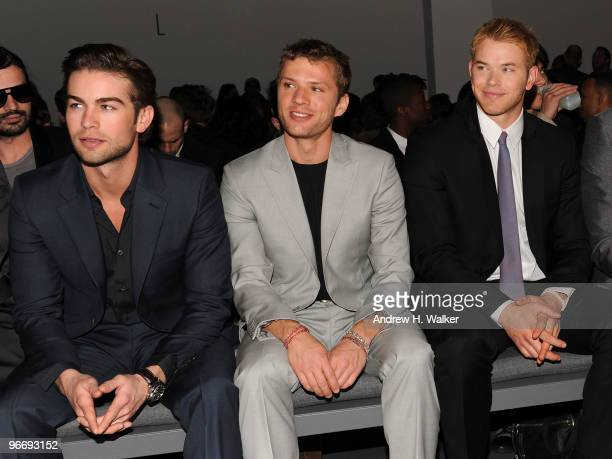 Actors Chace Crawford Ryan Phillippe and Kellan Lutz attend the Calvin Klein Men's Collection Fall 2010 Fashion Show during MercedesBenz Fashion Week...