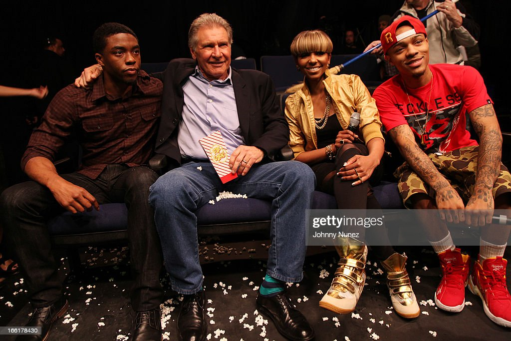 Actors Chad Boseman and Harrison Ford visit BET's 106 & Park with hosts Ms. Mykie and Bow Wow at BET Studios on April 8, 2013 in New York City.