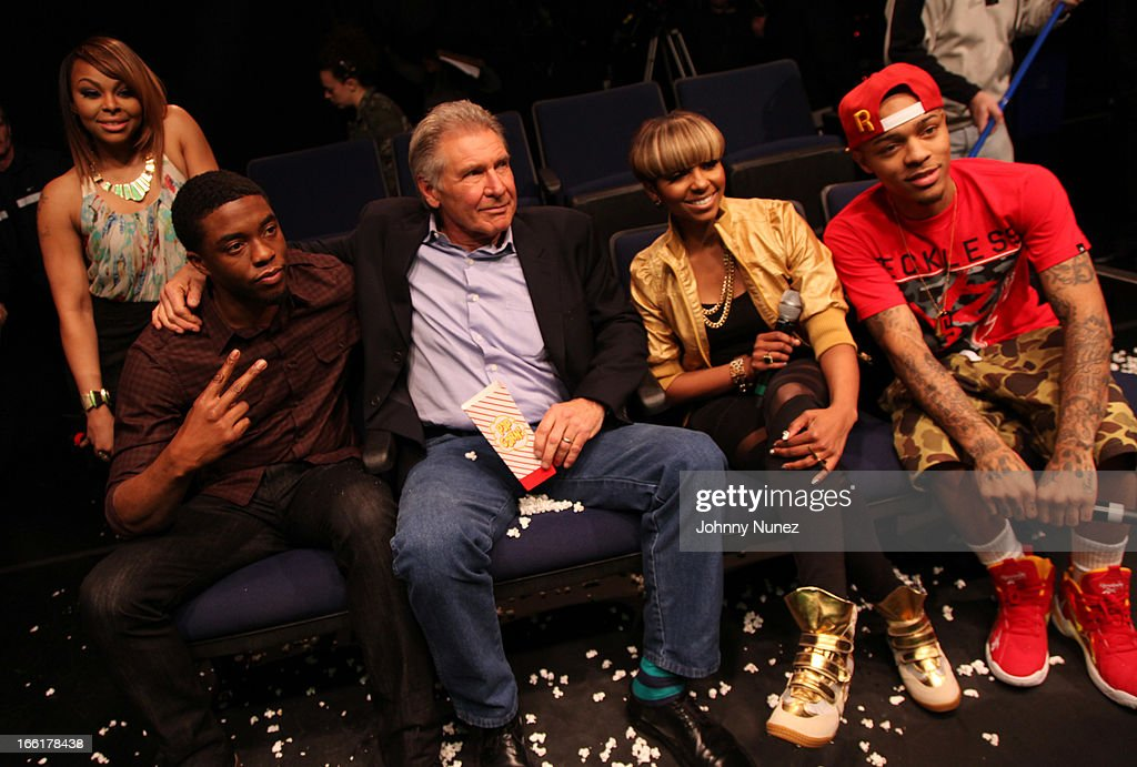 Actors Chad Boseman (2nd L) and Harrison Ford (c) visit BET's 106 & Park with hosts Paigion (L), Ms. Mykie (2nd r) and Bow Wow (r) at BET Studios on April 8, 2013 in New York City.