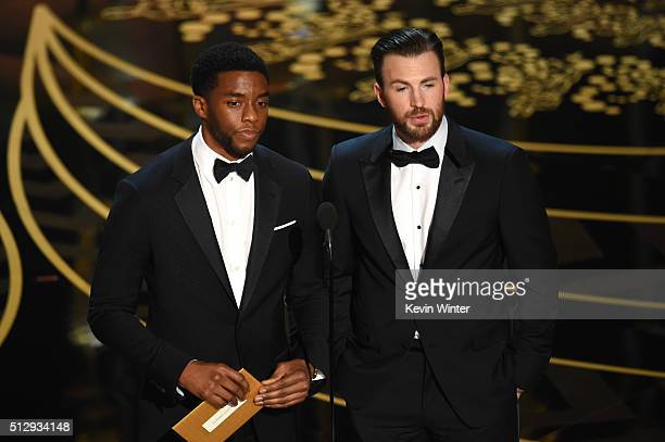 Actors Chadwick Boseman and Chris Evans speak onstage during the 88th Annual Academy Awards at the Dolby Theatre on February 28 2016 in Hollywood...