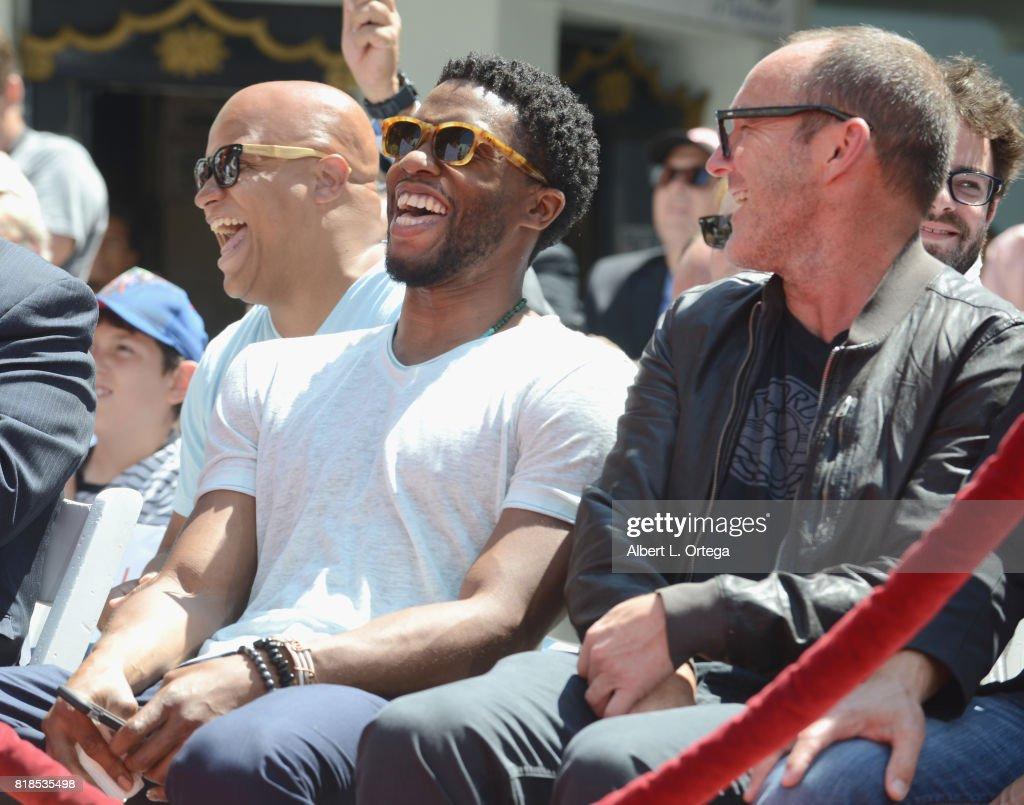 Actors Chadwick Boseman and Clark Gregg at Stan Lee Hand And Footprint Ceremony held at TCL Chinese Theatre IMAX on July 18, 2017 in Hollywood, California.