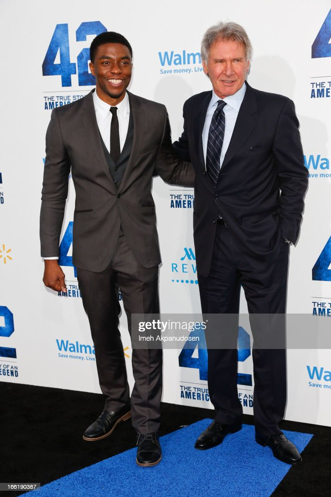 Actors <a gi-track='captionPersonalityLinkClicked' href=/galleries/search?phrase=Chadwick+Boseman&family=editorial&specificpeople=8825549 ng-click='$event.stopPropagation()'>Chadwick Boseman</a> (L) and <a gi-track='captionPersonalityLinkClicked' href=/galleries/search?phrase=Harrison+Ford+-+Actor+-+Born+1942&family=editorial&specificpeople=11508906 ng-click='$event.stopPropagation()'>Harrison Ford</a> attend the premiere of Warner Bros. Pictures' And Legendary Pictures' '42' at TCL Chinese Theatre on April 9, 2013 in Hollywood, California.