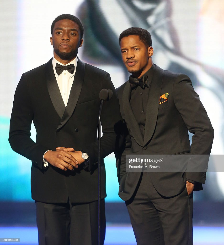 Actors Chadwick Boseman (L) and Nate Parker speak onstage during the 47th NAACP Image Awards presented by TV One at Pasadena Civic Auditorium on February 5, 2016 in Pasadena, California.