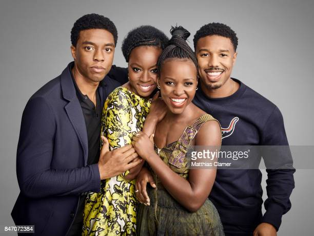 Actors Chadwick Boseman Danai Gurira Lupita Nyong'o and Michael B Jordan from 'Black Panther' are photographed for Entertainment Weekly Magazine on...