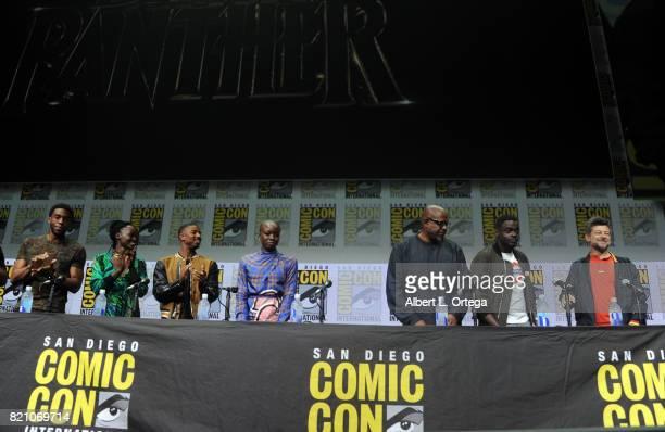 Actors Chadwick Boseman Lupita Nyong'o Michael B Jordan Danai Gurira Forest Whitaker Daniel Kaluuya and Andy Serkis at ComicCon International 2017...