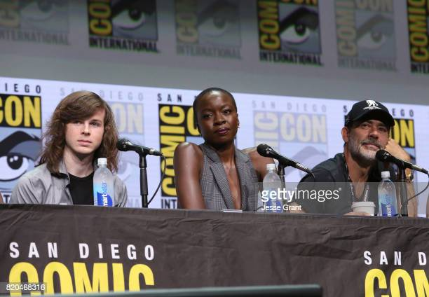 Actors Chandler Riggs Danai Gurira and Jeffrey Dean Morgan from 'The Walking Dead' at the Hall H panel with AMC at San Diego ComicCon International...