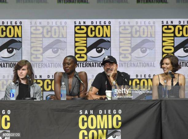 Actors Chandler Riggs Danai Gurira Jeffrey Dean Morgan and Lauren Cohan speak onstage at ComicCon International 2017 AMC's 'The Walking Dead' panel...