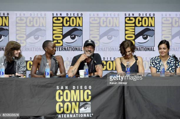 Actors Chandler Riggs Danai Gurira Jeffrey Dean Morgan Lauren Cohan and Alanna Masterson speak onstage at ComicCon International 2017 AMC's 'The...