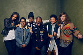 Actors Chanel Iman Tony Revolori Quincy Brown Shameik Moore Kiersey Clemons and Blake Anderson from 'Dope' pose for a portrait at the Village at the...