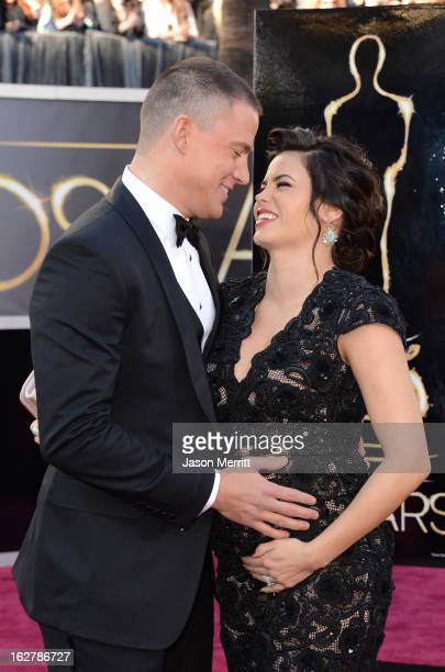 Actors Channing Tatum and Jenna Dewan arrive at the Oscars at Hollywood Highland Center on February 24 2013 in Hollywood California