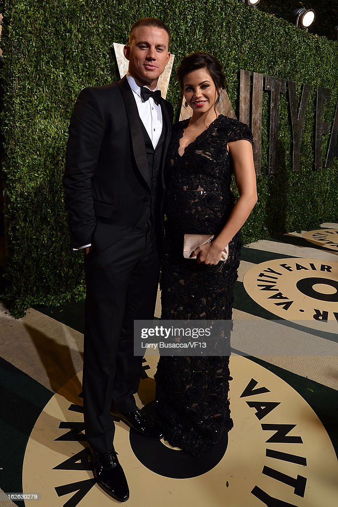 Actors Channing Tatum (L) and Jenna Dewan arrive for the 2013 Vanity Fair Oscar Party hosted by Graydon Carter at Sunset Tower on February 24, 2013 in West Hollywood, California.