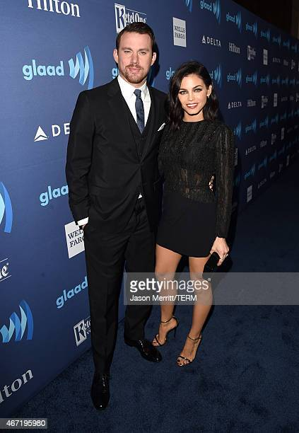 Actors Channing Tatum and Jenna Dewan attend the 26th Annual GLAAD Media Awards at The Beverly Hilton Hotel on March 21 2015 in Beverly Hills...