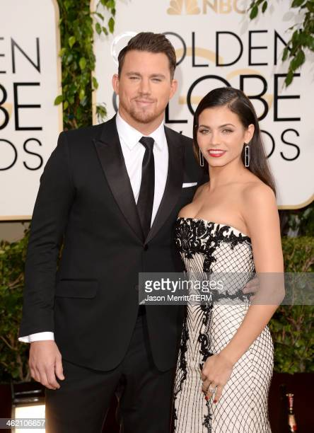 Actors Channing Tatum and Jenna Dewan attend the 71st Annual Golden Globe Awards held at The Beverly Hilton Hotel on January 12 2014 in Beverly Hills...