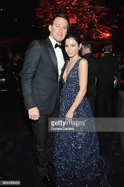 Actors Channing Tatum and Jenna Dewan Tatum attend The 2016 InStyle and Warner Bros 73rd annual Golden Globe Awards PostParty at The Beverly Hilton...