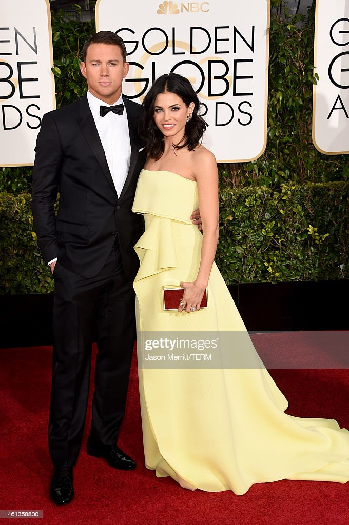 Actors Channing Tatum and Jenna Dewan Tatum attend the 72nd Annual Golden Globe Awards at The Beverly Hilton Hotel on January 11 2015 in Beverly...