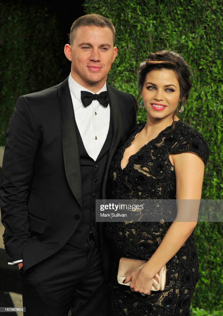 Actors Channing Tatum (L) and Julie Yaeger arrive at the 2013 Vanity Fair Oscar Party at Sunset Tower on February 24, 2013 in West Hollywood, California.