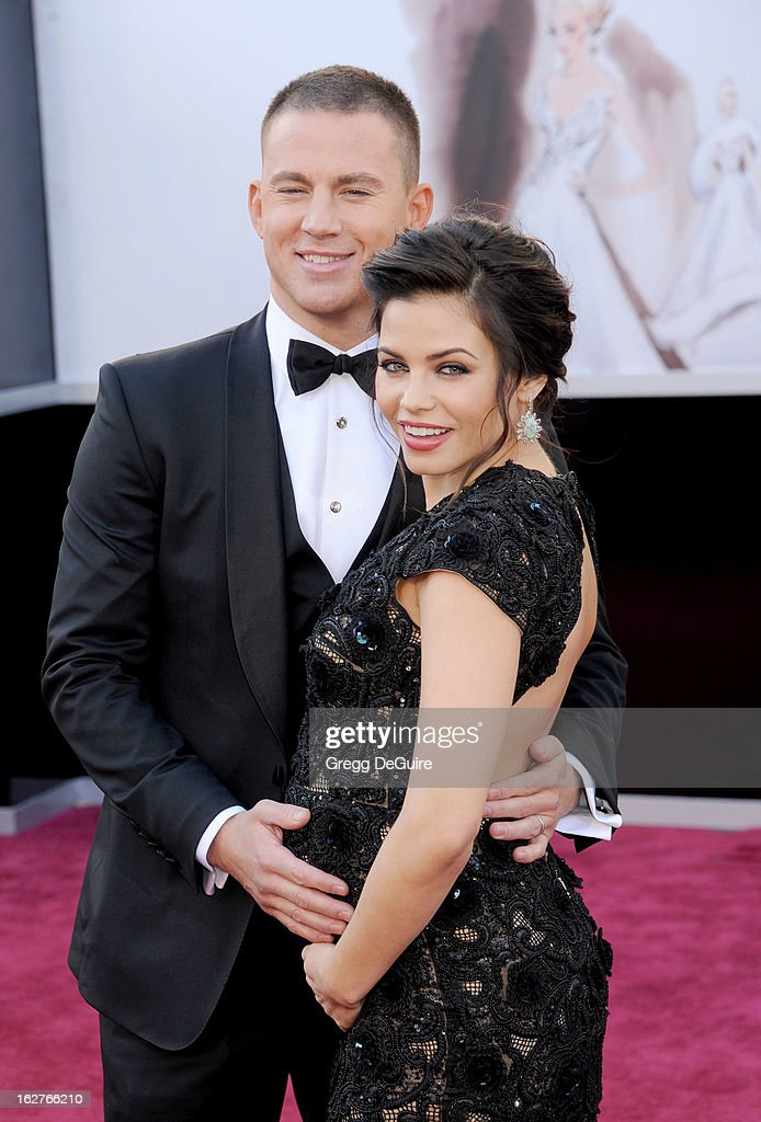Actors Channing Tatum and Jenna Dewan-Tatum arrive at the Oscars at Hollywood & Highland Center on February 24, 2013 in Hollywood, California.