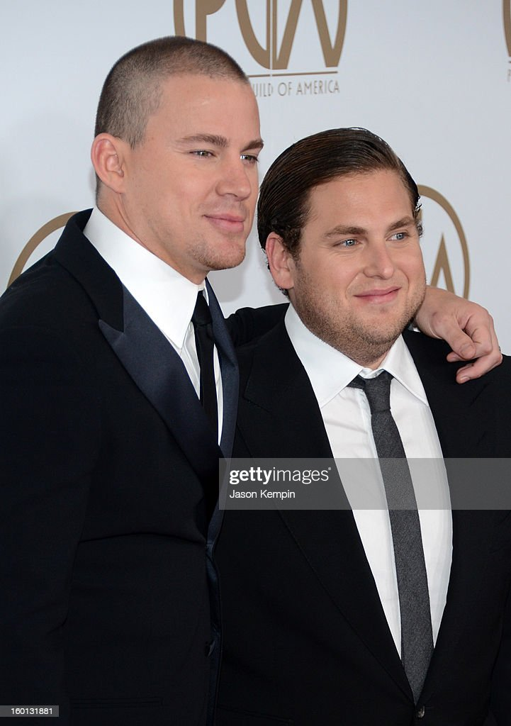 Actors Channing Tatum (L) and Jonah Hill arrive at the 24th Annual Producers Guild Awards held at The Beverly Hilton Hotel on January 26, 2013 in Beverly Hills, California.