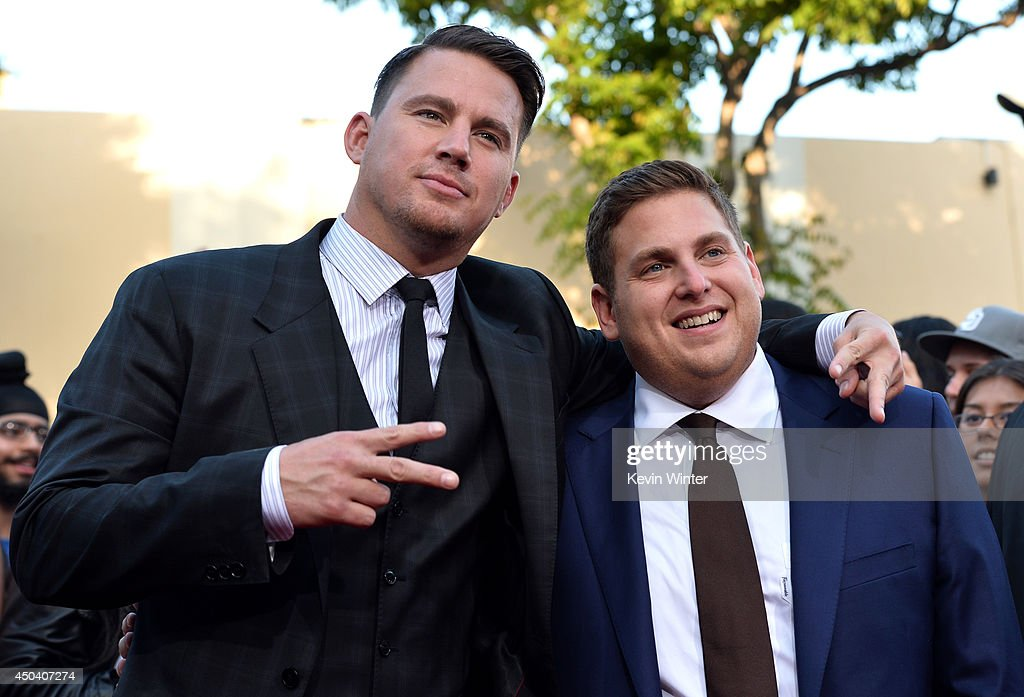 Actors <a gi-track='captionPersonalityLinkClicked' href=/galleries/search?phrase=Channing+Tatum&family=editorial&specificpeople=549548 ng-click='$event.stopPropagation()'>Channing Tatum</a> (L) and <a gi-track='captionPersonalityLinkClicked' href=/galleries/search?phrase=Jonah+Hill&family=editorial&specificpeople=544481 ng-click='$event.stopPropagation()'>Jonah Hill</a> attend the Premiere Of Columbia Pictures' '22 Jump Street' at Regency Village Theatre on June 10, 2014 in Westwood, California.