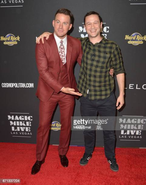 Actors Channing Tatum and Joseph GordonLevitt attend the grand opening of 'Magic Mike Live Las Vegas' at the Hard Rock Hotel Casino on April 21 2017...