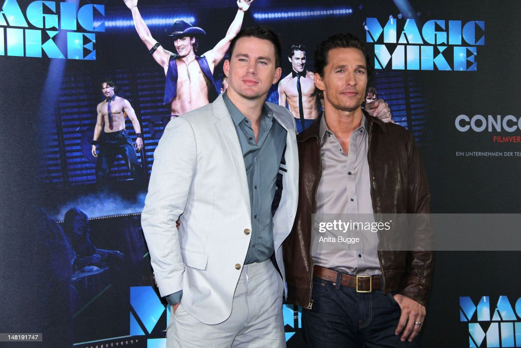 Actors <a gi-track='captionPersonalityLinkClicked' href=/galleries/search?phrase=Channing+Tatum&family=editorial&specificpeople=549548 ng-click='$event.stopPropagation()'>Channing Tatum</a> and <a gi-track='captionPersonalityLinkClicked' href=/galleries/search?phrase=Matthew+McConaughey&family=editorial&specificpeople=201663 ng-click='$event.stopPropagation()'>Matthew McConaughey</a> attend the 'Magic Mike' photocall at Hotel De Rome on July 12, 2012 in Berlin, Germany.