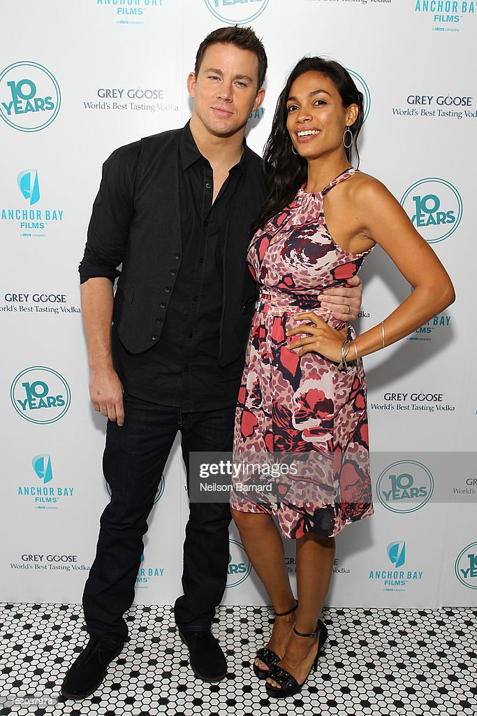 Actors Channing Tatum (L) and Rosario Dawson attend '10 Years' brunch reunion event hosted by GREY GOOSE Vodka And Anchor Bay Films at Hotel Chantelle on September 16, 2012 in New York City.