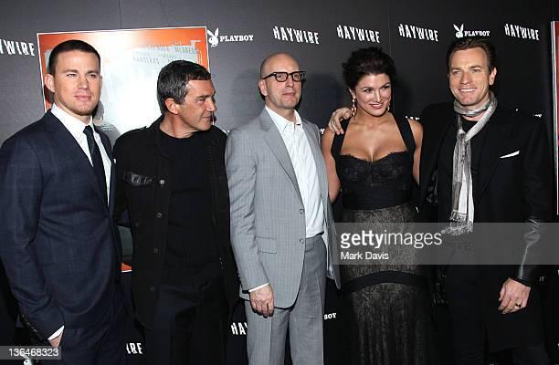 Actors Channing Tatum Antonio Banderas director Steven Soderbergh actors Gina Carano and Ewan McGregor arrive at Relativity Media's premiere of...