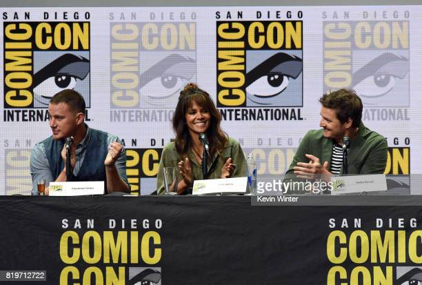 Actors Channing Tatum Halle Berry and Pedro Pascal speak onstage at the 20th Century FOX panel during ComicCon International 2017 at San Diego...