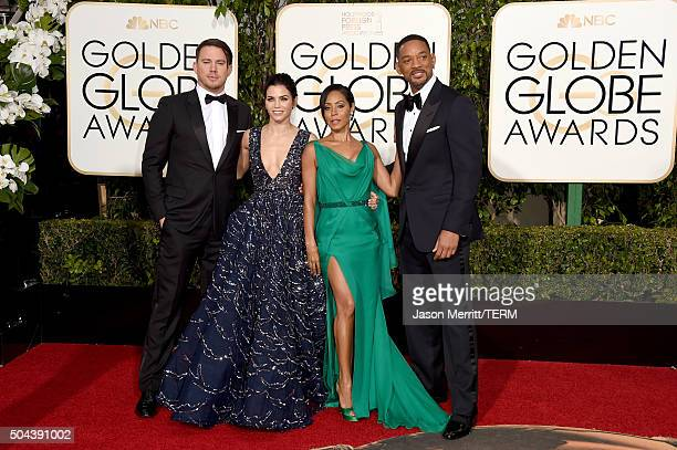 Actors Channing Tatum Jenna Dewan Tatum Jada Pinkett Smith and Will Smith attend the 73rd Annual Golden Globe Awards held at the Beverly Hilton Hotel...