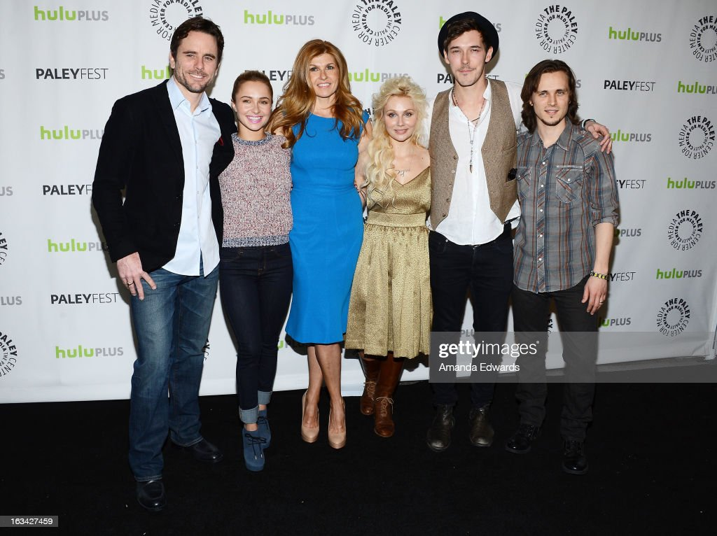 Actors Charles Esten, Hayden Panettiere, Connie Britton, Clare Bowen, Sam Palladio and Jonathan Jackson arrive at the 30th Annual PaleyFest: The William S. Paley Television Festival featuring 'Nashville' at the Saban Theatre on March 9, 2013 in Beverly Hills, California.