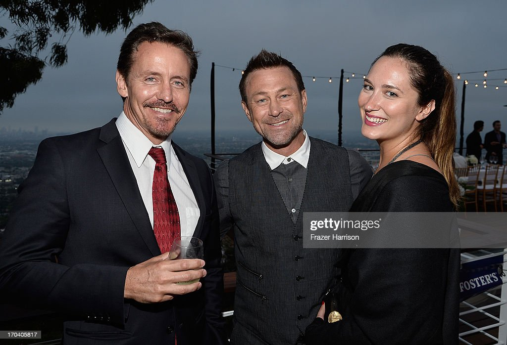 Actors Charles Mesure and Grant Bowler and Kate Buckwald attend the Australians In Film and Heath Ledger Scholarship Host 5th Anniversary Benefit Dinner on June 12, 2013 in Los Angeles, California.