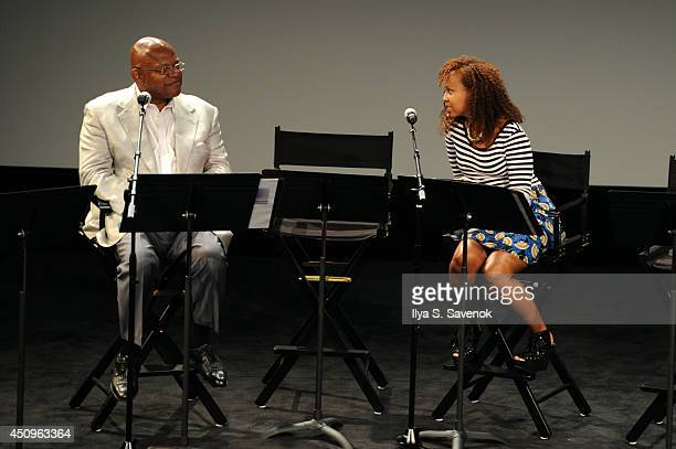 Actors Charles S Dutton and Kimberley Dalton Mitchell speak onstage at the 2014 ABFF_ UP TV Live Table Read at SVA Theater on June 20 2014 in New...