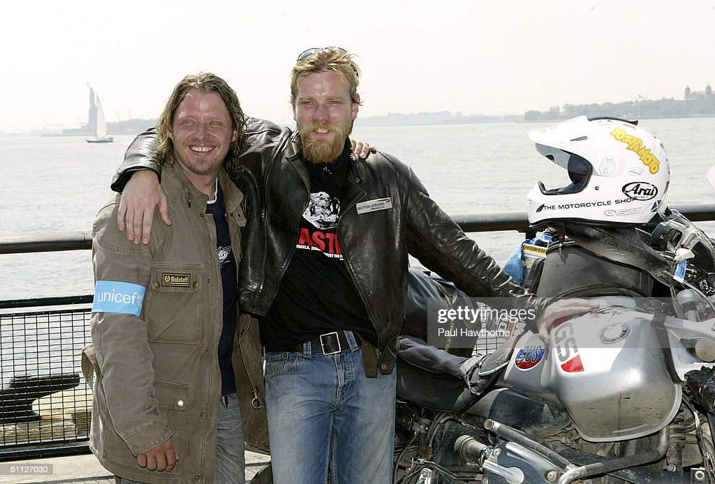 Actors Charley Boorman L And Ewan McGregor Pose For A Photo After Riding Into