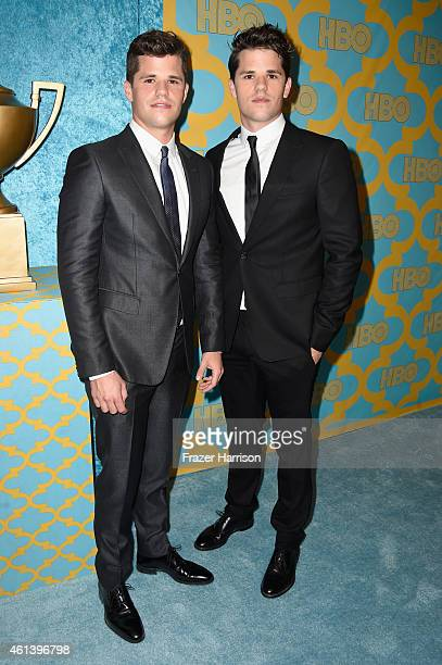 Actors Charlie Carver and Max Carver attend HBO's Post 2015 Golden Globe Awards Party at Circa 55 Restaurant on January 11 2015 in Los Angeles...