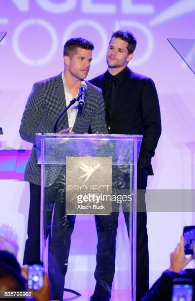 Actors Charlie Carver and Max Carver speak onstage during Project Angel Food's 2017 Angel Awards on August 19 2017 in Los Angeles California