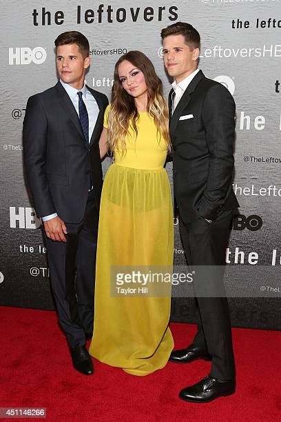 Actors Charlie Carver Emily Meade and Max Carver attend 'The Leftovers' premiere at NYU Skirball Center on June 23 2014 in New York City