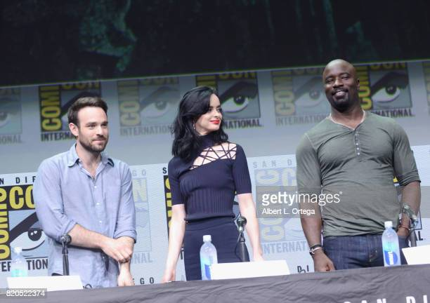Actors Charlie Cox Krysten Ritter and Mike Colter speak onstage at Netflix's 'The Defenders' panel during ComicCon International 2017 at San Diego...