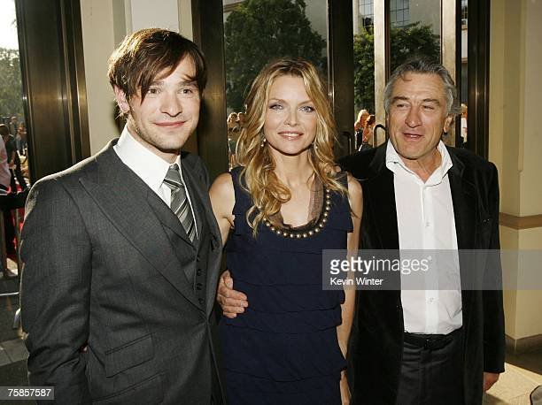 Actors Charlie Cox Michelle Pfeiffer and Robert De Niro pose at the premiere of Paramount Picture's 'Stardust' at the Paramount Studio Theater on...