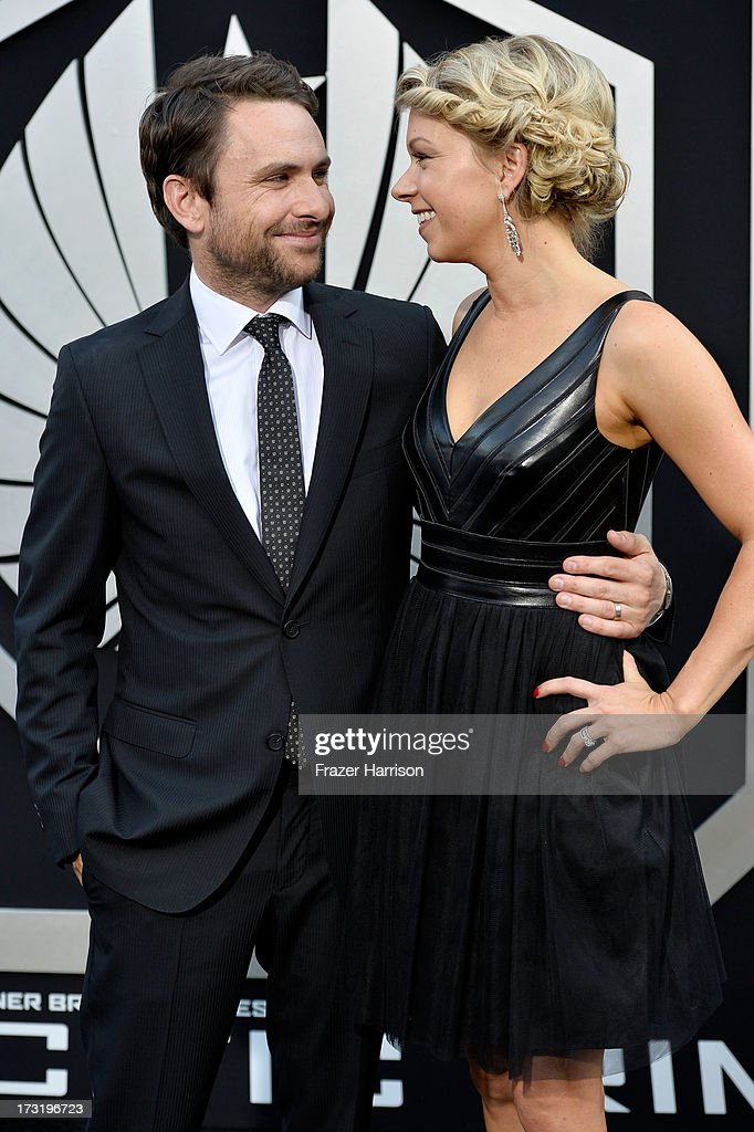 Actors Charlie Day (L) and Mary Elizabeth Ellis arrive at the premiere of Warner Bros. Pictures' and Legendary Pictures' 'Pacific Rim' at Dolby Theatre on July 9, 2013 in Hollywood, California.