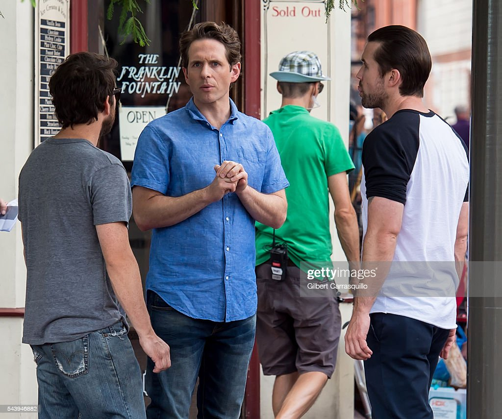 Actors <a gi-track='captionPersonalityLinkClicked' href=/galleries/search?phrase=Charlie+Day&family=editorial&specificpeople=537731 ng-click='$event.stopPropagation()'>Charlie Day</a>, <a gi-track='captionPersonalityLinkClicked' href=/galleries/search?phrase=Glenn+Howerton&family=editorial&specificpeople=537733 ng-click='$event.stopPropagation()'>Glenn Howerton</a> and <a gi-track='captionPersonalityLinkClicked' href=/galleries/search?phrase=Rob+McElhenney&family=editorial&specificpeople=537737 ng-click='$event.stopPropagation()'>Rob McElhenney</a> are seen filming scenes of season 12 of It's Always Sunny In Philadelphia sitcom in Philadelphia, Pennsylvania.