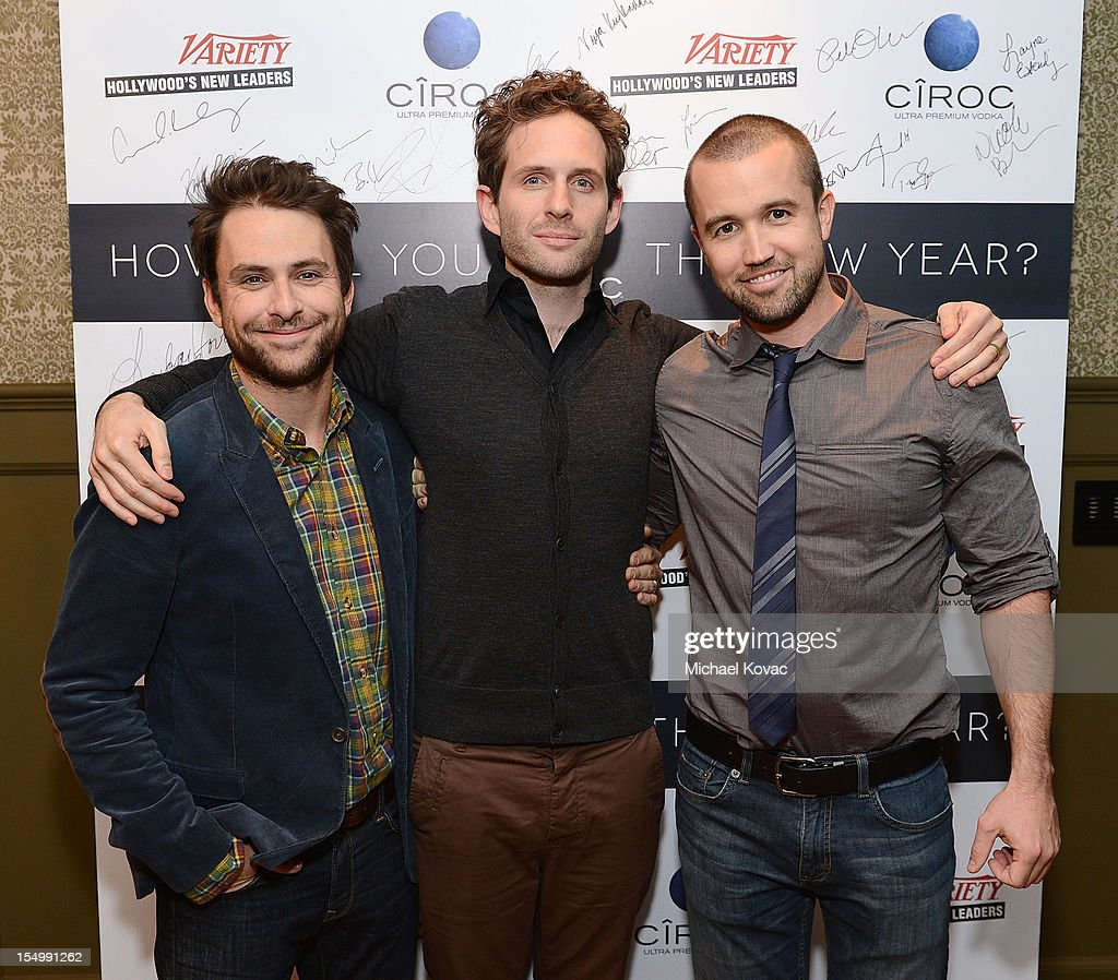 Actors <a gi-track='captionPersonalityLinkClicked' href=/galleries/search?phrase=Charlie+Day&family=editorial&specificpeople=537731 ng-click='$event.stopPropagation()'>Charlie Day</a>, <a gi-track='captionPersonalityLinkClicked' href=/galleries/search?phrase=Glenn+Howerton&family=editorial&specificpeople=537733 ng-click='$event.stopPropagation()'>Glenn Howerton</a> and <a gi-track='captionPersonalityLinkClicked' href=/galleries/search?phrase=Rob+McElhenney&family=editorial&specificpeople=537737 ng-click='$event.stopPropagation()'>Rob McElhenney</a> attend Variety's Hollywood's New Leaders presented by Ciroc Vodka at Soho House on October 29, 2012 in West Hollywood, California.