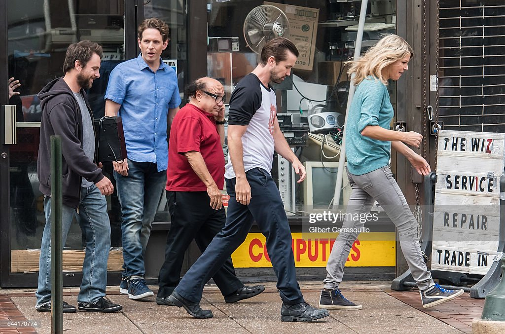 Actors <a gi-track='captionPersonalityLinkClicked' href=/galleries/search?phrase=Charlie+Day&family=editorial&specificpeople=537731 ng-click='$event.stopPropagation()'>Charlie Day</a>, <a gi-track='captionPersonalityLinkClicked' href=/galleries/search?phrase=Glenn+Howerton&family=editorial&specificpeople=537733 ng-click='$event.stopPropagation()'>Glenn Howerton</a>, <a gi-track='captionPersonalityLinkClicked' href=/galleries/search?phrase=Danny+DeVito&family=editorial&specificpeople=210718 ng-click='$event.stopPropagation()'>Danny DeVito</a>, <a gi-track='captionPersonalityLinkClicked' href=/galleries/search?phrase=Rob+McElhenney&family=editorial&specificpeople=537737 ng-click='$event.stopPropagation()'>Rob McElhenney</a> and <a gi-track='captionPersonalityLinkClicked' href=/galleries/search?phrase=Kaitlin+Olson&family=editorial&specificpeople=537734 ng-click='$event.stopPropagation()'>Kaitlin Olson</a> are seen filming scenes of season 12 of 'It's Always Sunny In Philadelphia' sitcom on July 1, 2016 in Philadelphia, Pennsylvania.