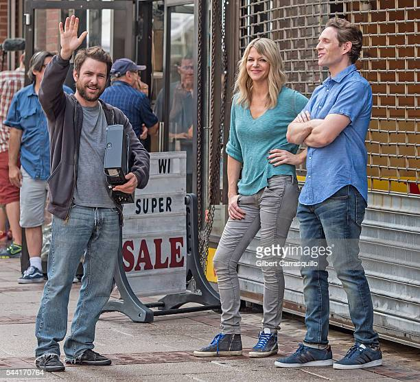 Actors Charlie Day Kaitlin Olson and Glenn Howerton are seen filming scenes of season 12 of 'It's Always Sunny In Philadelphia' sitcom on July 1 2016...