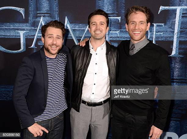 Actors Charlie Day Rob McElhenney and Glenn Howerton attend the premiere for the sixth season of HBO's 'Game Of Thrones' at TCL Chinese Theatre on...