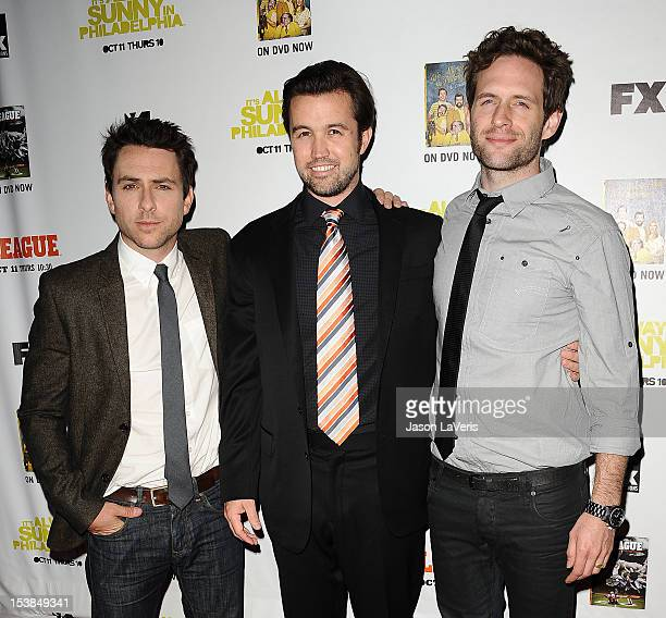 Actors Charlie Day Rob McElhenney and Glenn Howerton attend the FX season premiere screenings for 'It's Always Sunny In Philadelphia' and 'The...