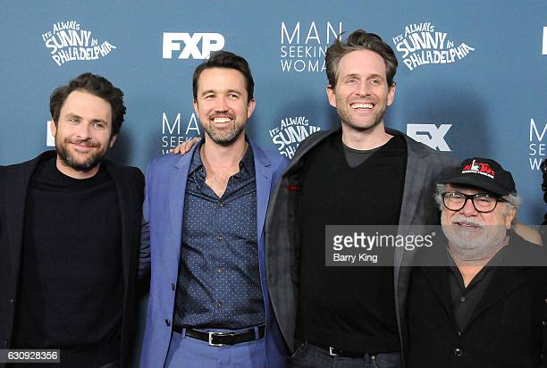 Actors Charlie Day Rob McElhenney Glenn Howerton and Danny DeVito attend the premiere of FXX's 'It's Always Sunny In Philadelphia' Season 12 and 'Man...