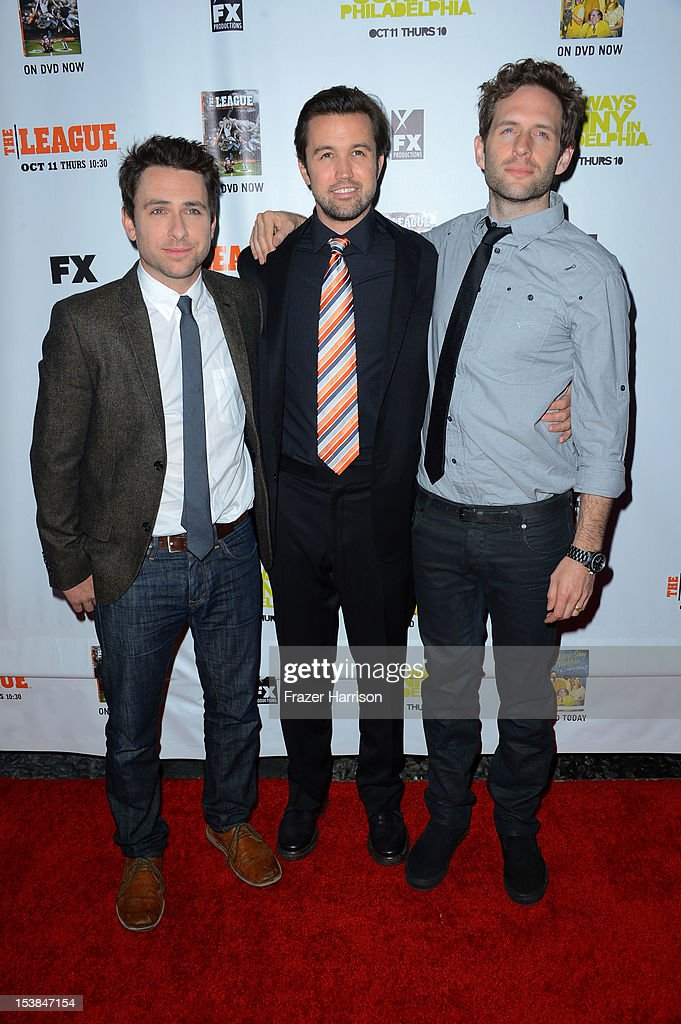 Actors <a gi-track='captionPersonalityLinkClicked' href=/galleries/search?phrase=Charlie+Day&family=editorial&specificpeople=537731 ng-click='$event.stopPropagation()'>Charlie Day</a>, <a gi-track='captionPersonalityLinkClicked' href=/galleries/search?phrase=Rob+McElhenney&family=editorial&specificpeople=537737 ng-click='$event.stopPropagation()'>Rob McElhenney</a>, <a gi-track='captionPersonalityLinkClicked' href=/galleries/search?phrase=Glenn+Howerton&family=editorial&specificpeople=537733 ng-click='$event.stopPropagation()'>Glenn Howerton</a> arrive at the Premiere Screenings of FX's 'It's Always Sunny In Philadelphia' Season 8 and 'The League' Season 4 at ArcLight Cinemas Cinerama Dome on October 9, 2012 in Hollywood, California.