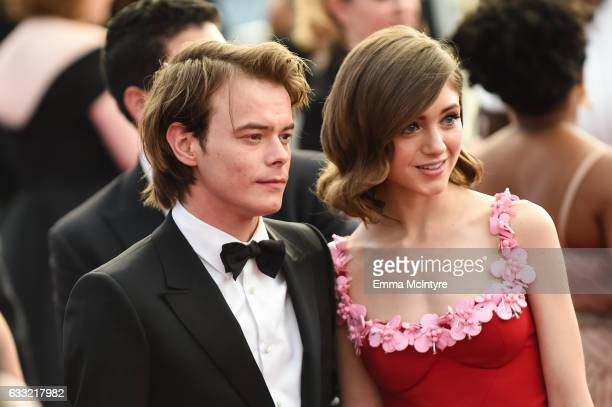 Actors Charlie Heaton and Natalia Dyer arrive at the 23rd annual Screen Actors Guild Awards at The Shrine Auditorium on January 29 2017 in Los...