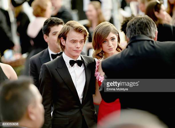 Actors Charlie Heaton and Natalia Dyer attend The 23rd Annual Screen Actors Guild Awards at The Shrine Auditorium on January 29 2017 in Los Angeles...